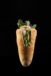 Chimney Almond - guacamole, rucola, radish *salty, gluten free*
